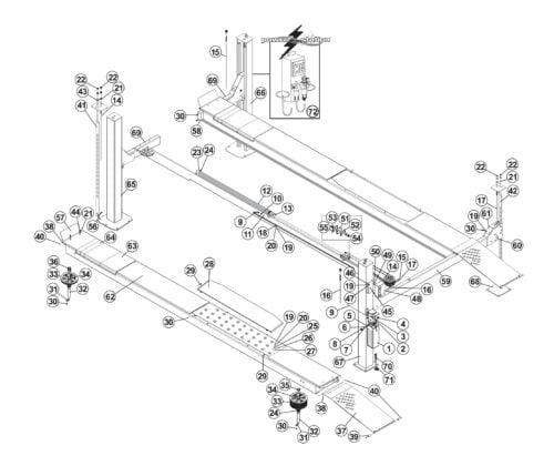 Parts for Tuxedo Lift FP14KO-A 4-Post