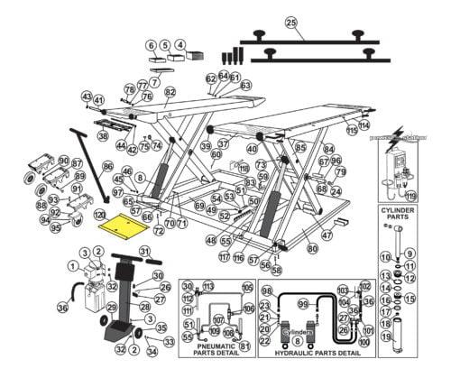 Parts for Tuxedo Lift MR6K-38