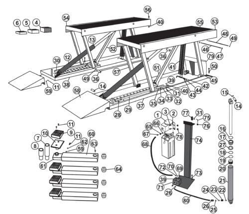 Parts for Tuxedo Lift PL6K