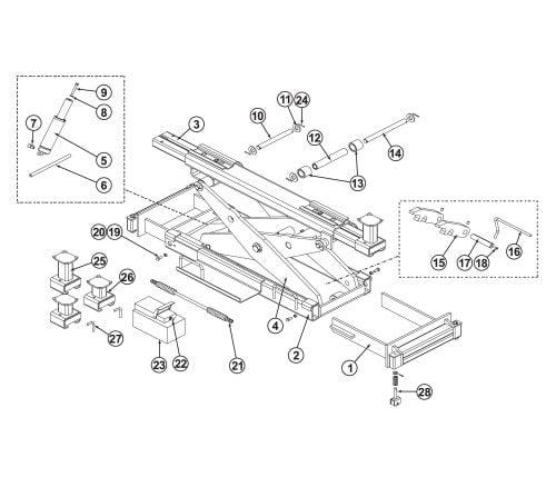 Parts Breakdown for BendPak RJ-15