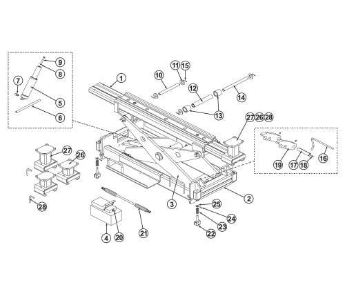 Parts Breakdown for BendPak RJ-18