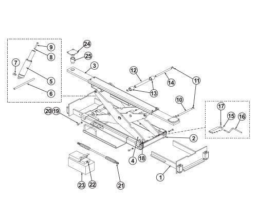 Parts Breakdown for BendPak Rolling Jack RJ-45S