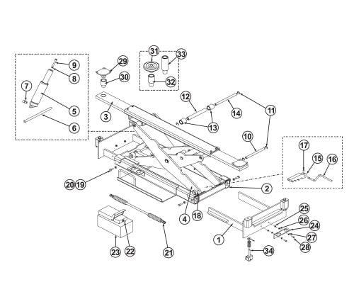 Parts Breakdown for BendPak RJ-6 Rolling Bridge Jack