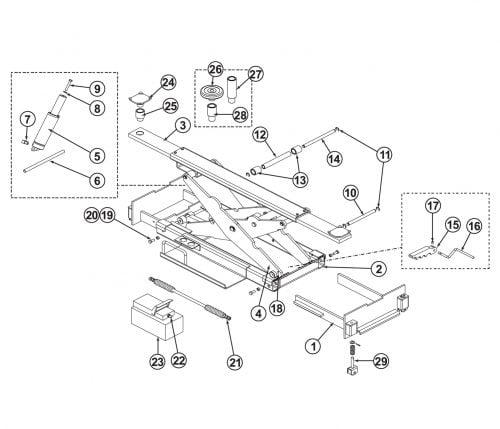 Parts Breakdown for BendPak Rolling Jack RJ-7