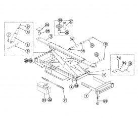 Parts Breakdown for BendPak Rolling Jack RJ-9