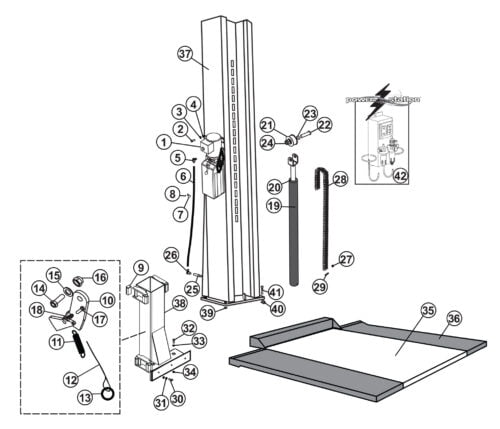 Parts for Tuxedo Lift SC-2K