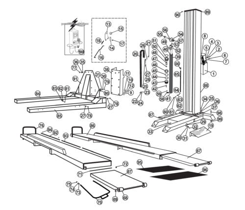 Parts for Tuxedo Lift Model SP-6K-SS