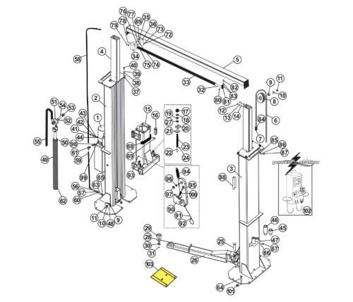 Parts for Tuxedo Lift TP15KC-KX