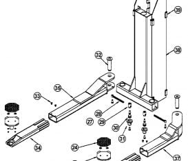 Parts Breakdown for Ammco B2900 Carriage Arm Assembly