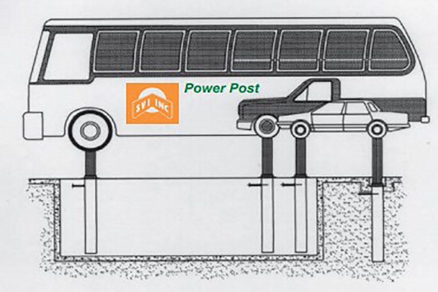 power post auto bus lift front and rear