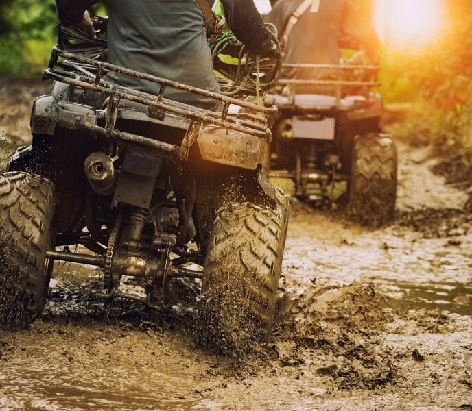 how do you jack an ATV, riding ATVs in the mud