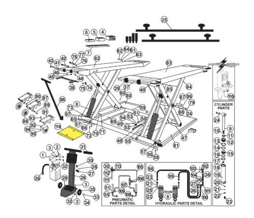 Parts for Tuxedo Lift MR6.5K-38 Mid Rise 6,500 lb capacity